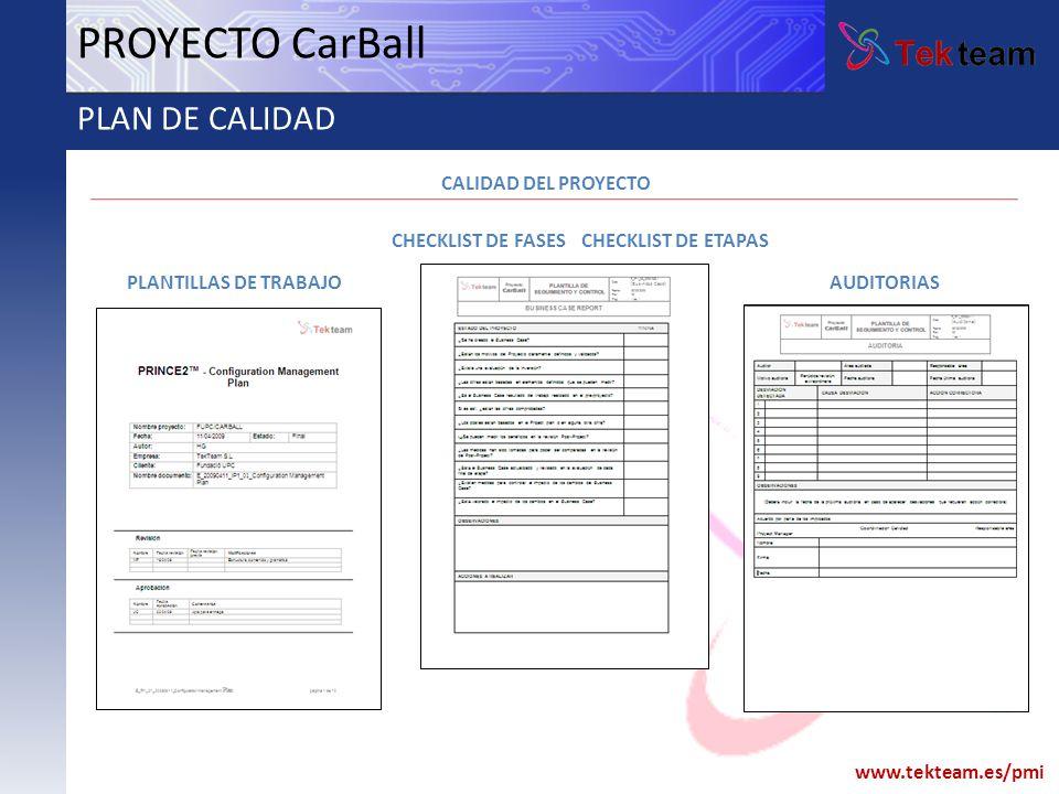 PROYECTO CarBall PLAN DE CALIDAD CALIDAD DEL PROYECTO