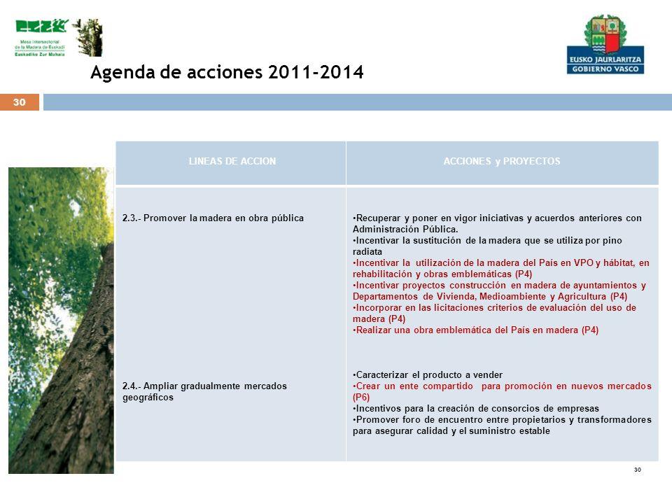 Agenda de acciones 2011-2014 LINEAS DE ACCION ACCIONES y PROYECTOS