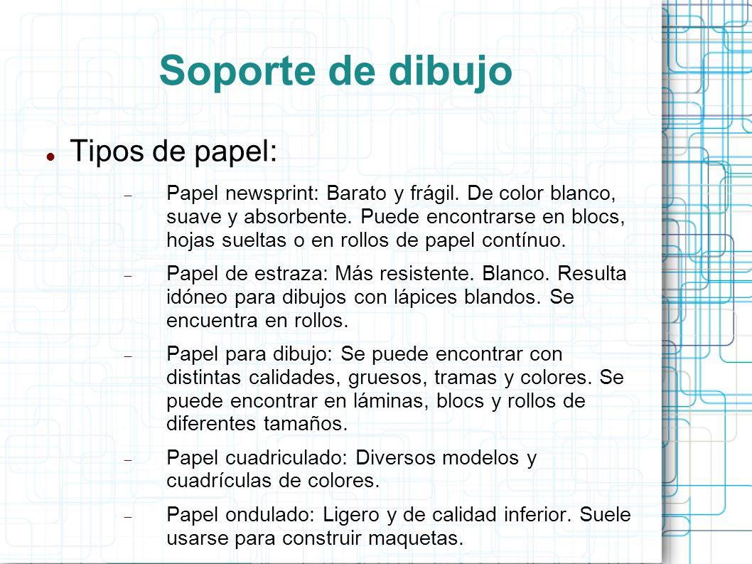 Soporte de dibujo Tipos de papel: