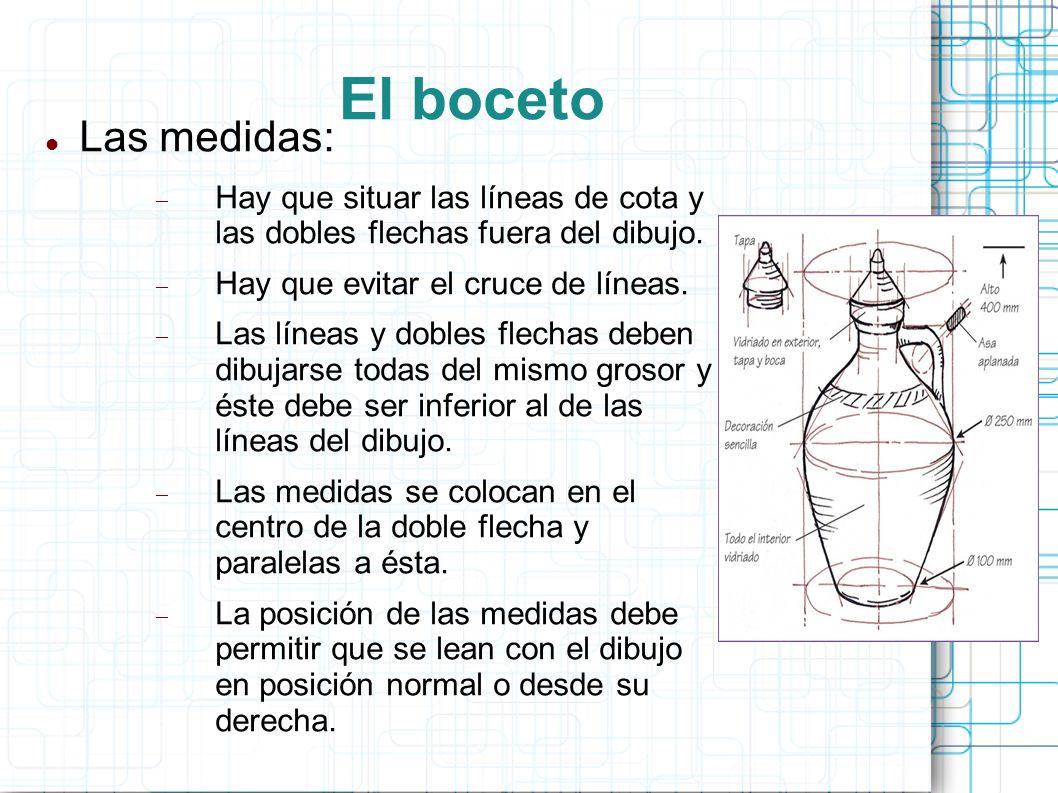 El boceto Las medidas: Hay que situar las líneas de cota y las dobles flechas fuera del dibujo. Hay que evitar el cruce de líneas.