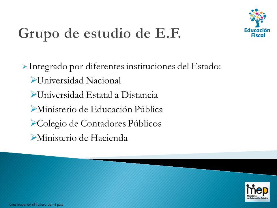 Grupo de estudio de E.F. Integrado por diferentes instituciones del Estado: Universidad Nacional. Universidad Estatal a Distancia.