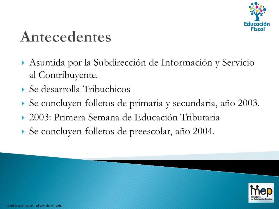 Antecedentes Asumida por la Subdirección de Información y Servicio al Contribuyente. Se desarrolla Tribuchicos.
