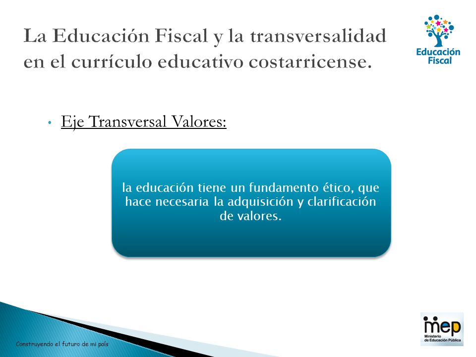 La Educación Fiscal y la transversalidad en el currículo educativo costarricense.