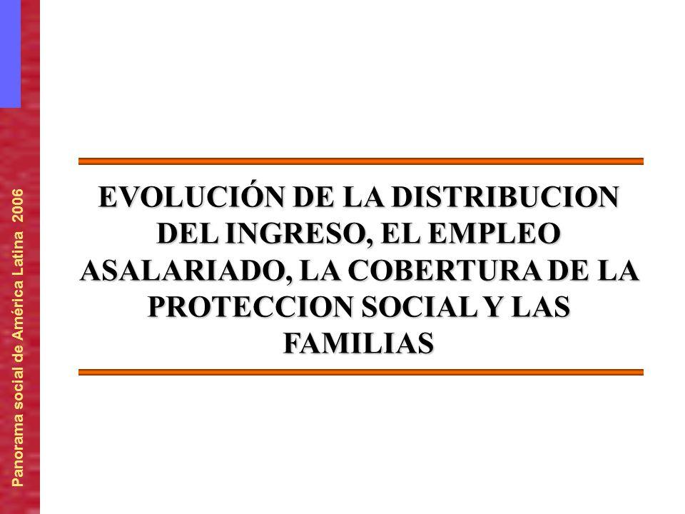 EVOLUCIÓN DE LA DISTRIBUCION DEL INGRESO, EL EMPLEO ASALARIADO, LA COBERTURA DE LA PROTECCION SOCIAL Y LAS FAMILIAS