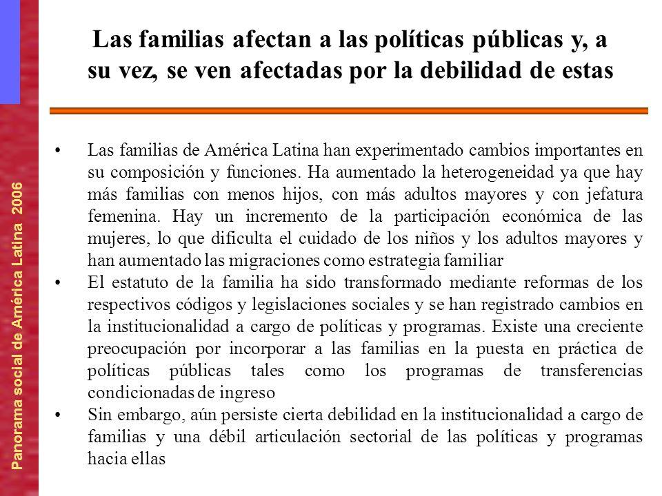 Las familias afectan a las políticas públicas y, a su vez, se ven afectadas por la debilidad de estas