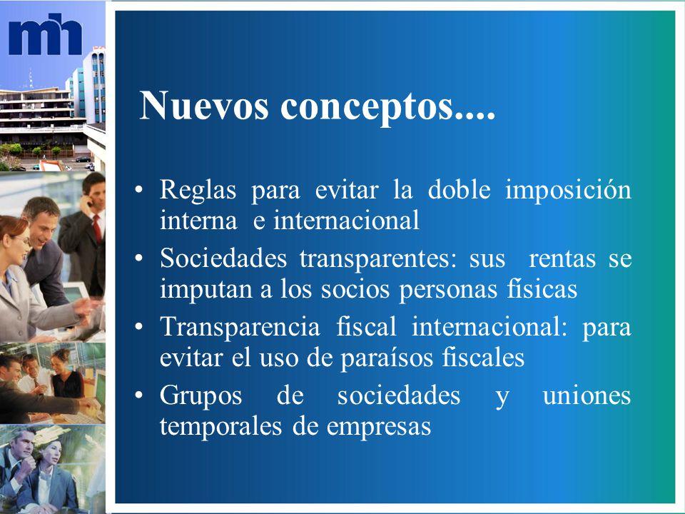 Nuevos conceptos.... Reglas para evitar la doble imposición interna e internacional.