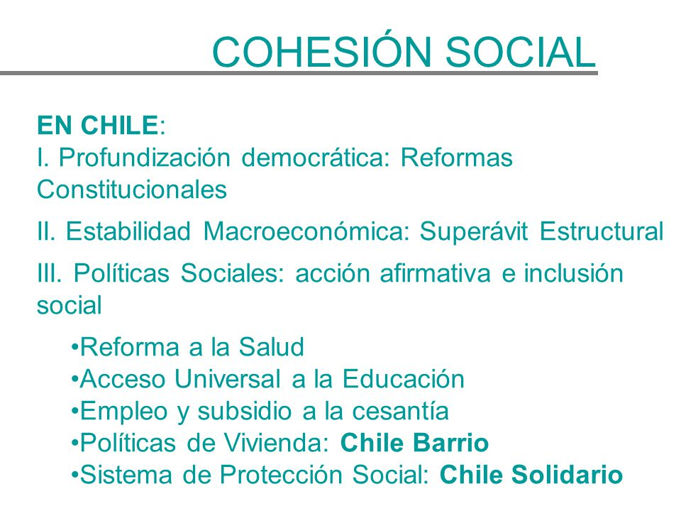 COHESIÓN SOCIAL EN CHILE: