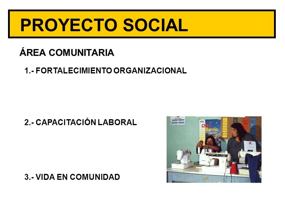 PROYECTO SOCIAL ÁREA COMUNITARIA 1.- FORTALECIMIENTO ORGANIZACIONAL