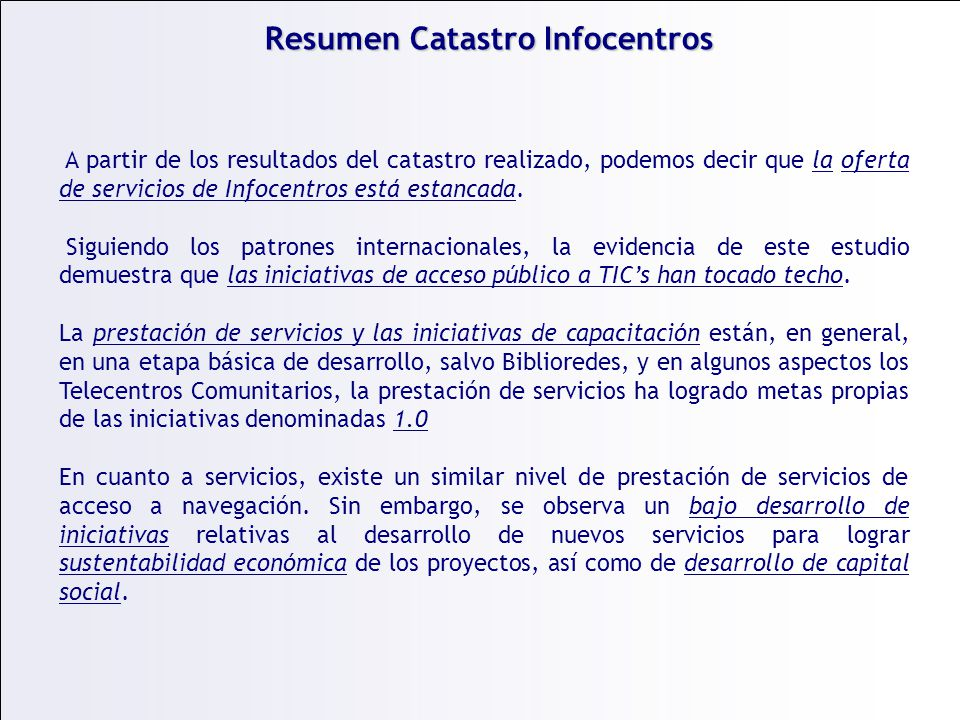 Resumen Catastro Infocentros