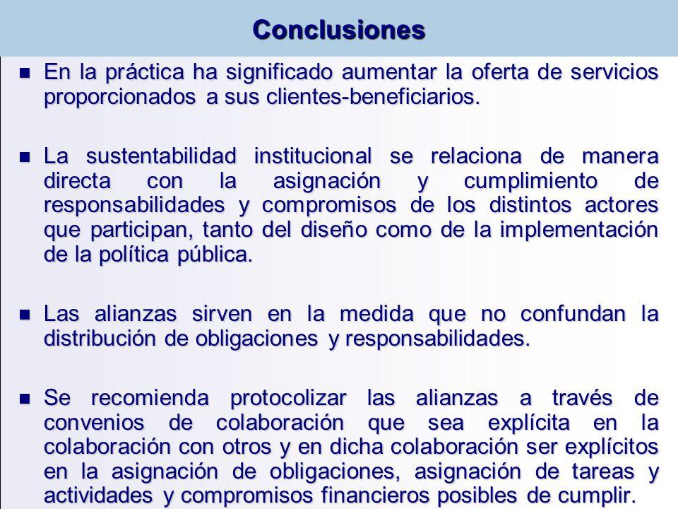 Conclusiones En la práctica ha significado aumentar la oferta de servicios proporcionados a sus clientes-beneficiarios.