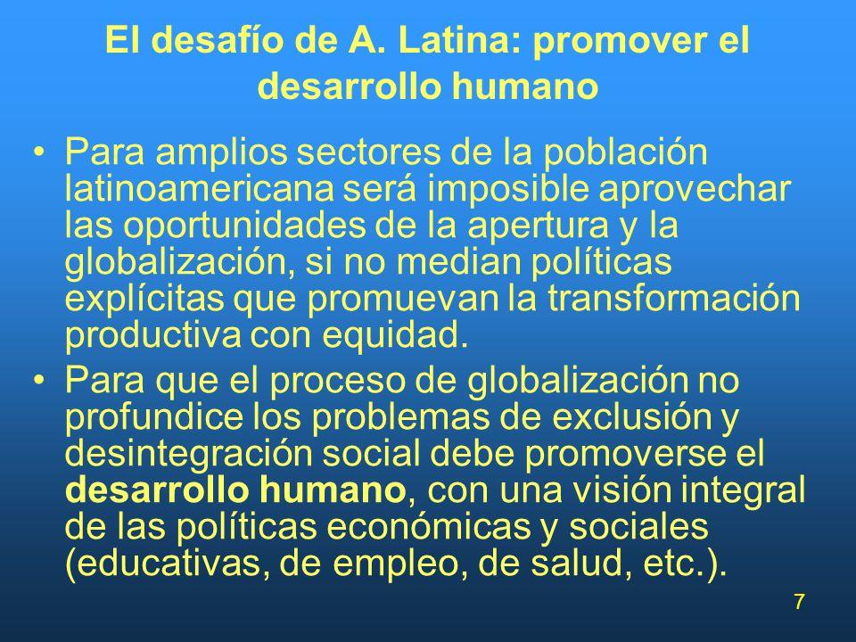 El desafío de A. Latina: promover el desarrollo humano