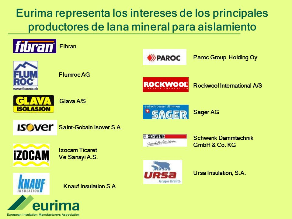 Eurima representa los intereses de los principales productores de lana mineral para aislamiento