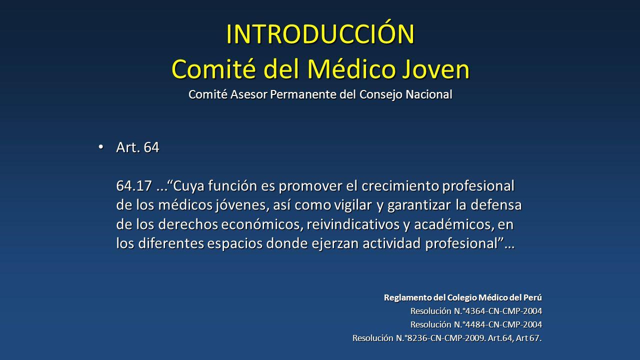 INTRODUCCIÓN Comité del Médico Joven Comité Asesor Permanente del Consejo Nacional