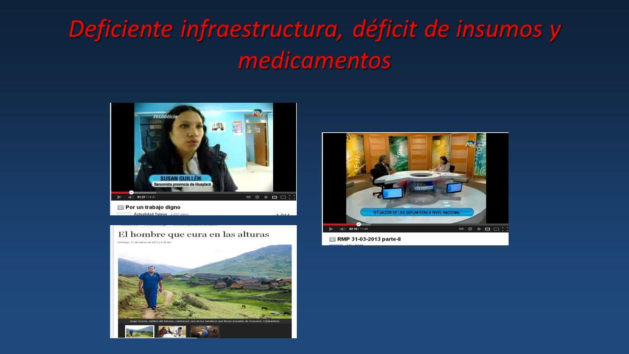 Deficiente infraestructura, déficit de insumos y medicamentos