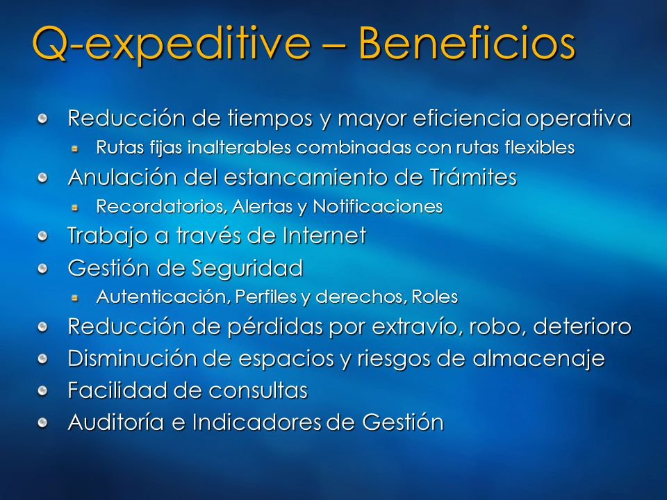 Q-expeditive – Beneficios