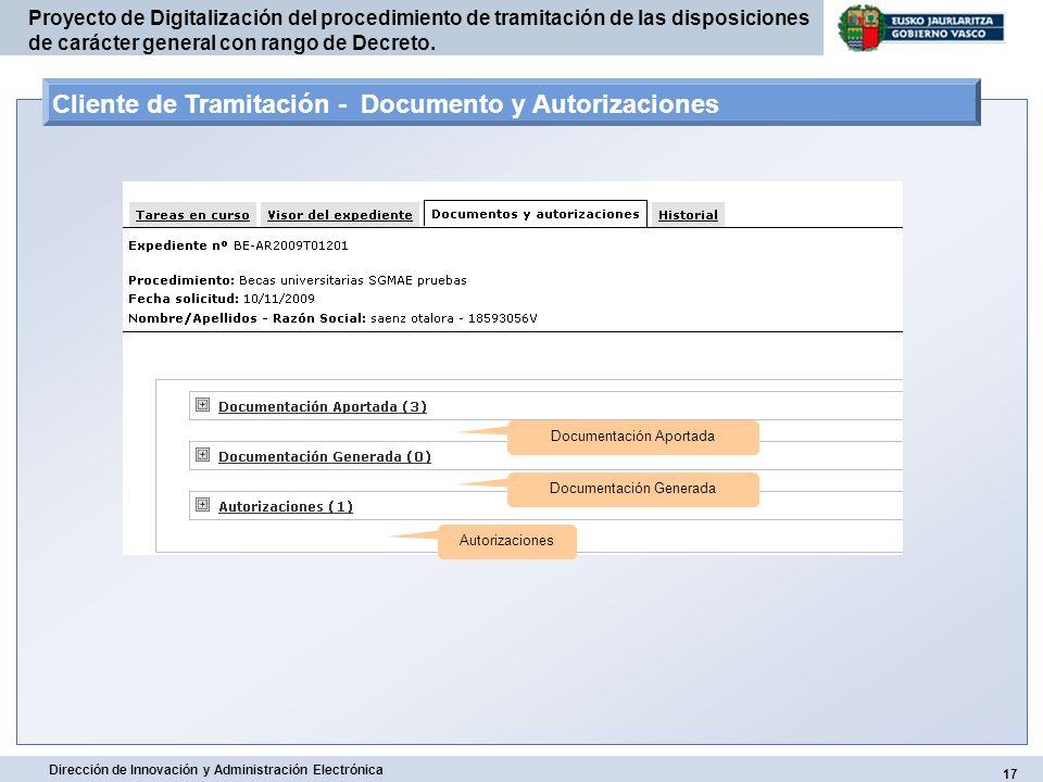 Cliente de Tramitación - Documento y Autorizaciones
