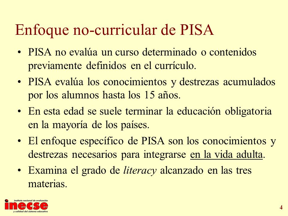 Enfoque no-curricular de PISA