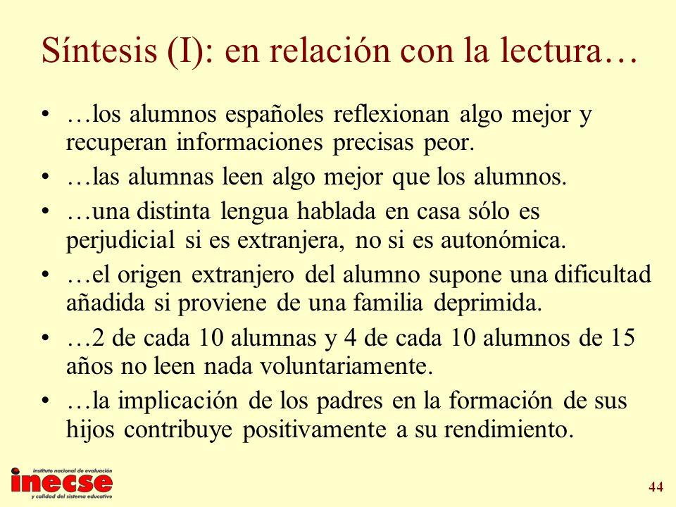 Síntesis (I): en relación con la lectura…