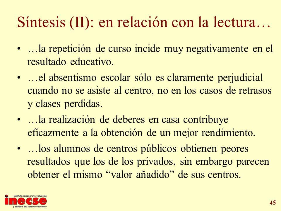 Síntesis (II): en relación con la lectura…
