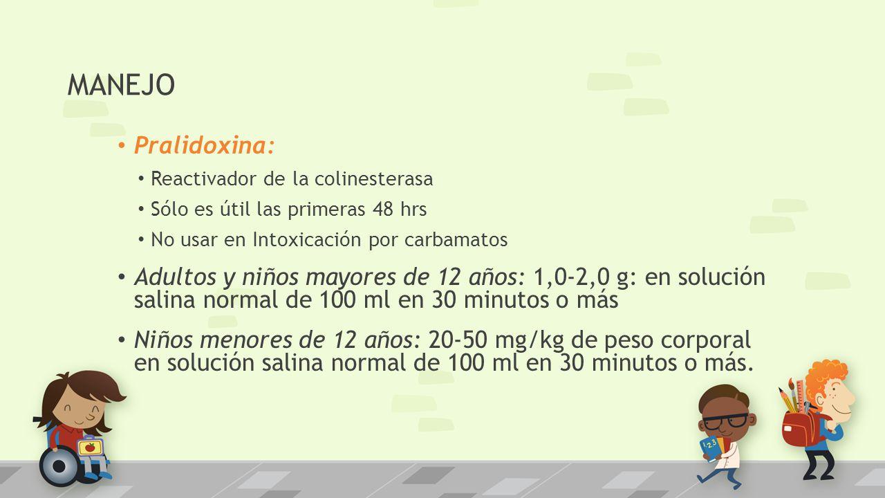 MANEJO Pralidoxina: Reactivador de la colinesterasa. Sólo es útil las primeras 48 hrs. No usar en Intoxicación por carbamatos.