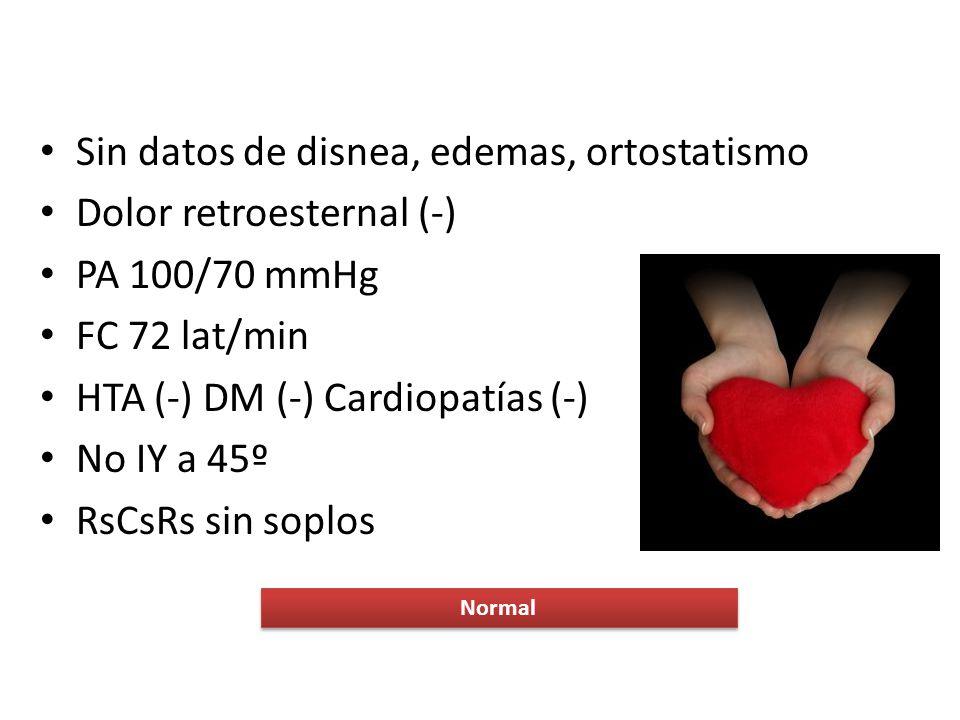 Sin datos de disnea, edemas, ortostatismo Dolor retroesternal (-)