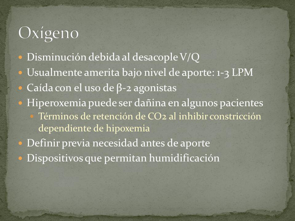 Oxígeno Disminución debida al desacople V/Q