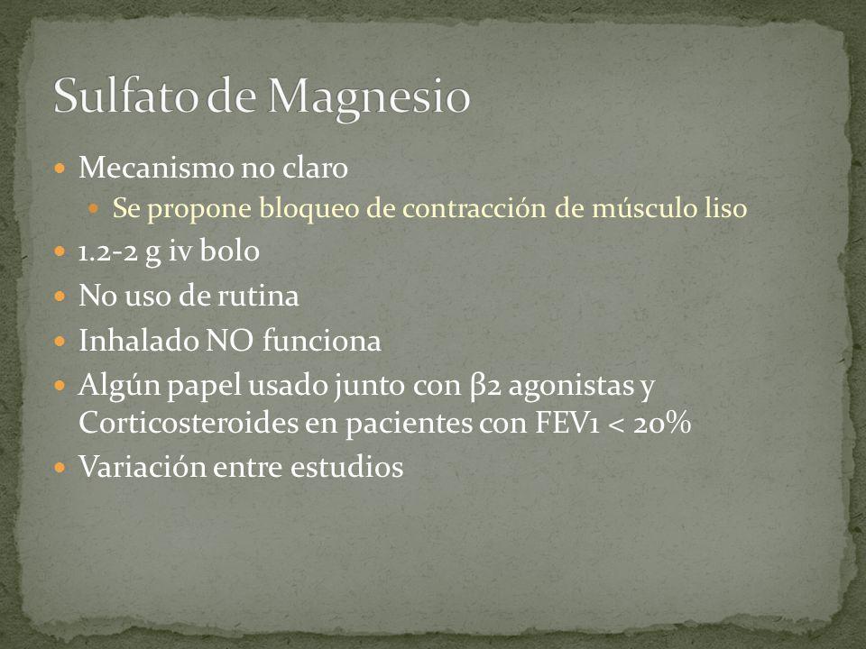 Sulfato de Magnesio Mecanismo no claro 1.2-2 g iv bolo