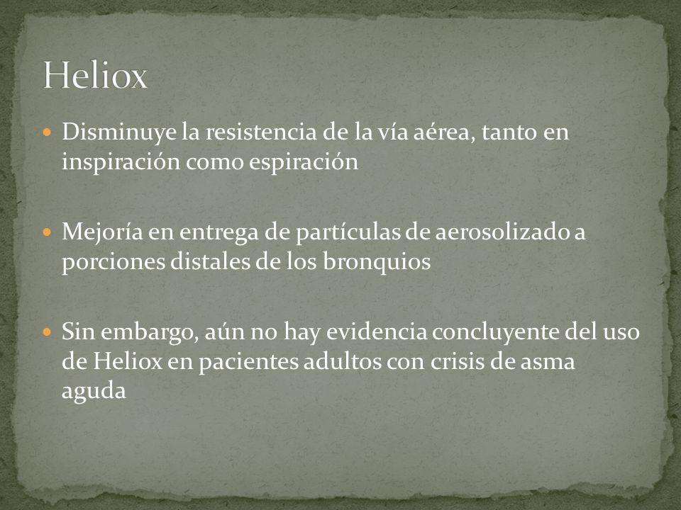 Heliox Disminuye la resistencia de la vía aérea, tanto en inspiración como espiración.