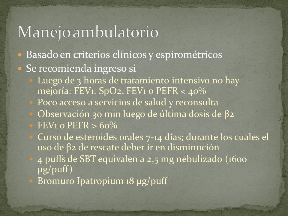 Manejo ambulatorio Basado en criterios clínicos y espirométricos