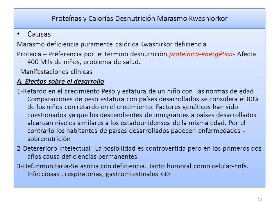 Proteínas y Calorías Desnutrición Marasmo Kwashiorkor