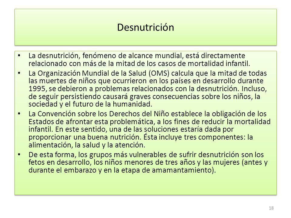 Desnutrición La desnutrición, fenómeno de alcance mundial, está directamente relacionado con más de la mitad de los casos de mortalidad infantil.