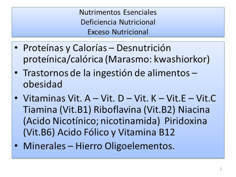 Nutrimentos Esenciales Deficiencia Nutricional Exceso Nutricional