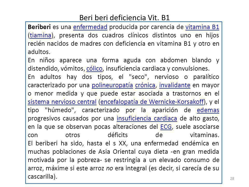 Beri beri deficiencia Vit. B1