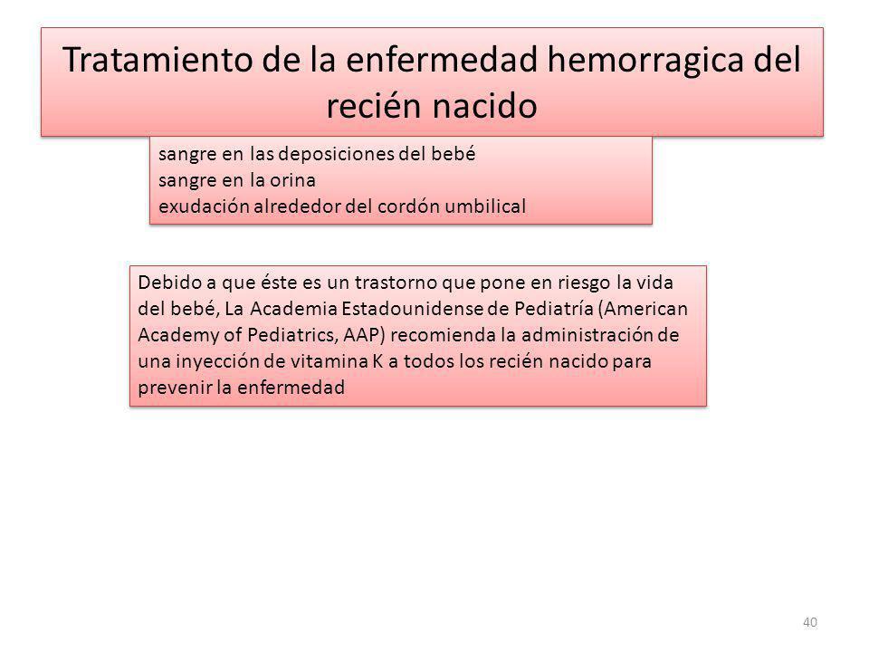 Tratamiento de la enfermedad hemorragica del recién nacido