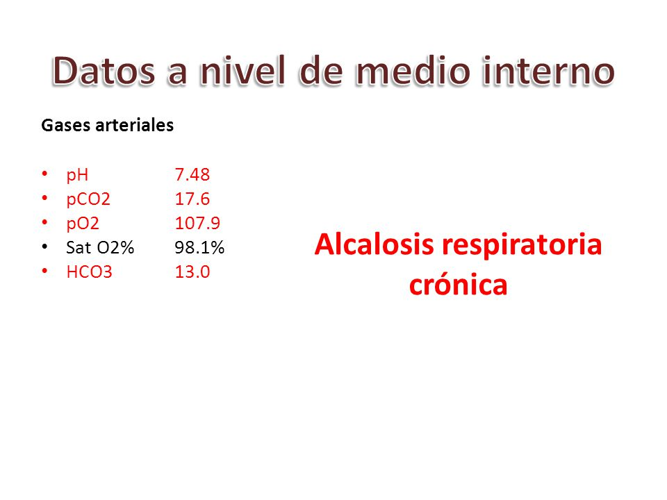 Datos a nivel de medio interno Alcalosis respiratoria crónica