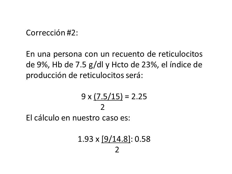 Corrección #2: En una persona con un recuento de reticulocitos de 9%, Hb de 7.5 g/dl y Hcto de 23%, el índice de producción de reticulocitos será: