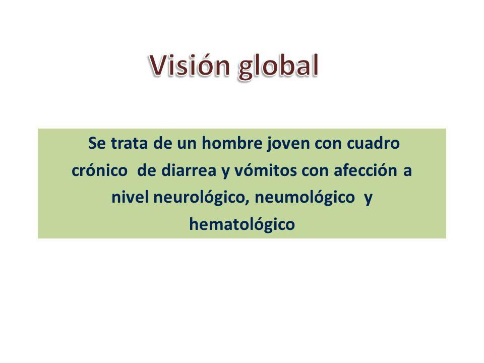 Visión global Se trata de un hombre joven con cuadro crónico de diarrea y vómitos con afección a nivel neurológico, neumológico y hematológico