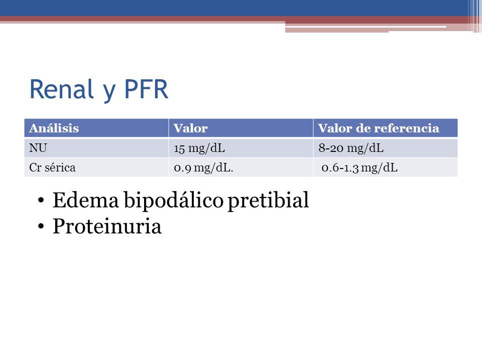 Renal y PFR Edema bipodálico pretibial Proteinuria Análisis Valor