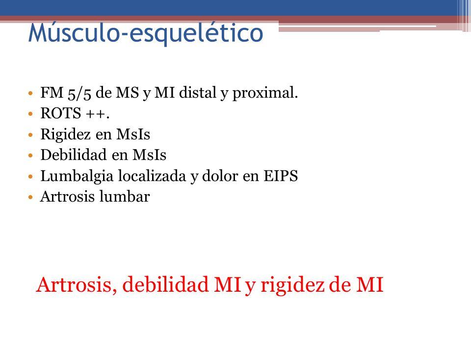 Músculo-esquelético Artrosis, debilidad MI y rigidez de MI
