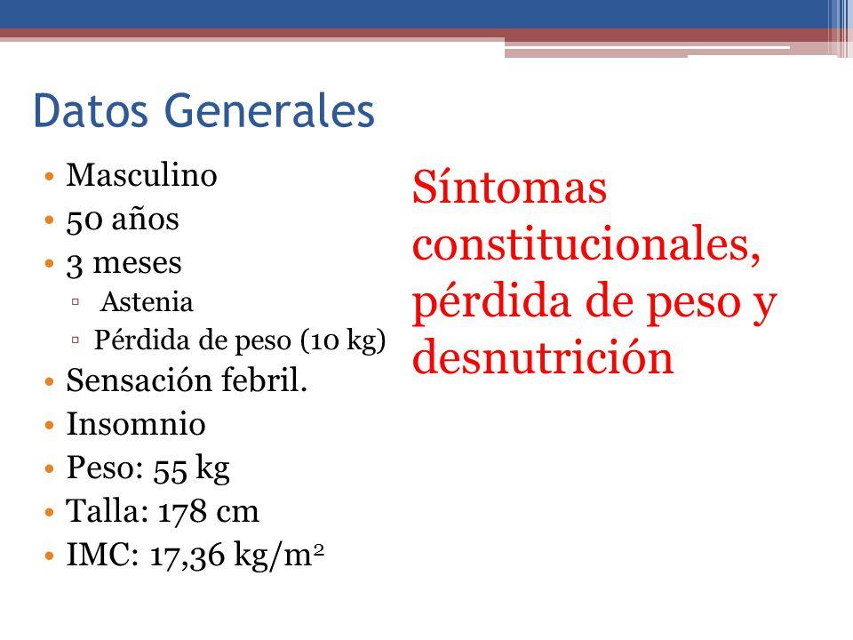 Síntomas constitucionales, pérdida de peso y desnutrición