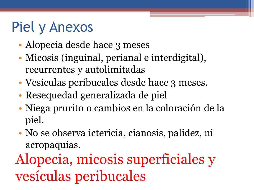 Alopecia, micosis superficiales y vesículas peribucales
