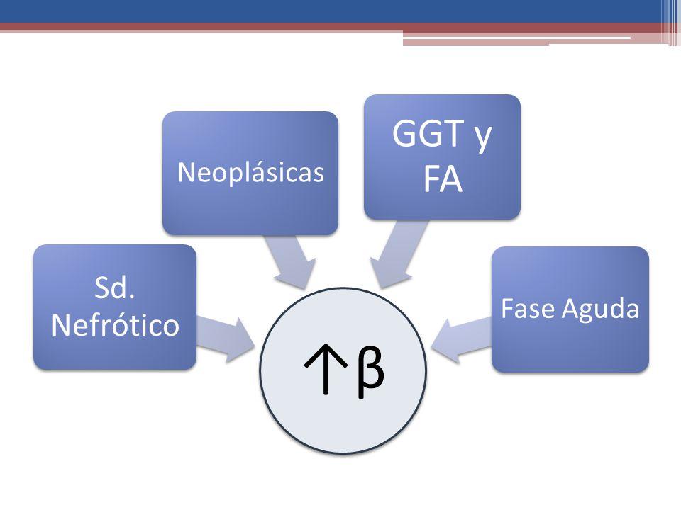 ↑β Sd. Nefrótico Neoplásicas GGT y FA Fase Aguda