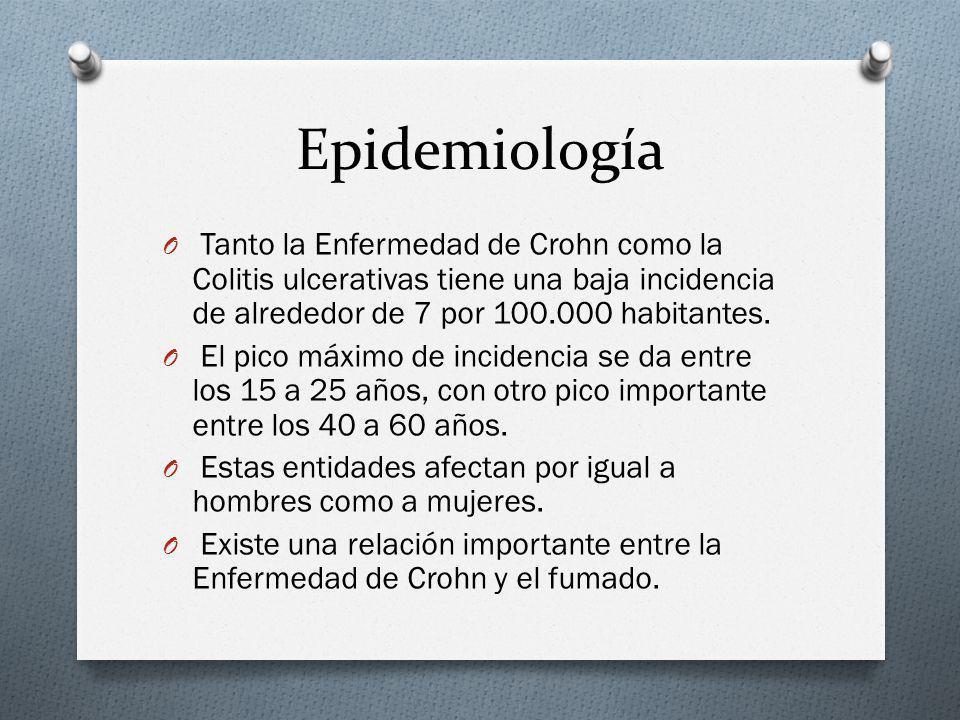 Epidemiología Tanto la Enfermedad de Crohn como la Colitis ulcerativas tiene una baja incidencia de alrededor de 7 por 100.000 habitantes.
