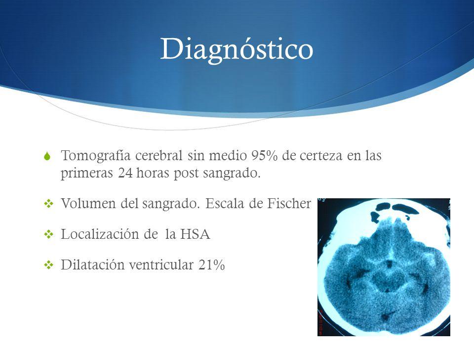 Diagnóstico Tomografía cerebral sin medio 95% de certeza en las primeras 24 horas post sangrado. Volumen del sangrado. Escala de Fischer.