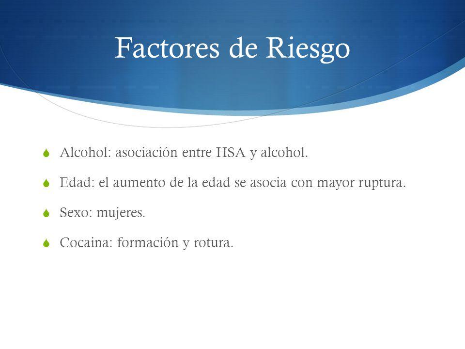 Factores de Riesgo Alcohol: asociación entre HSA y alcohol.