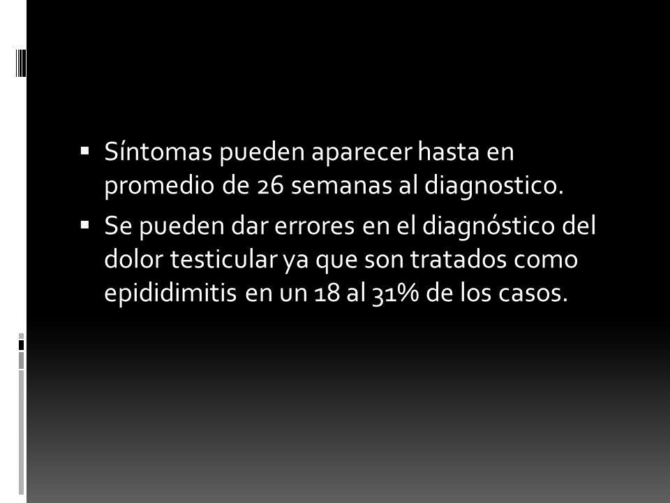 Síntomas pueden aparecer hasta en promedio de 26 semanas al diagnostico.