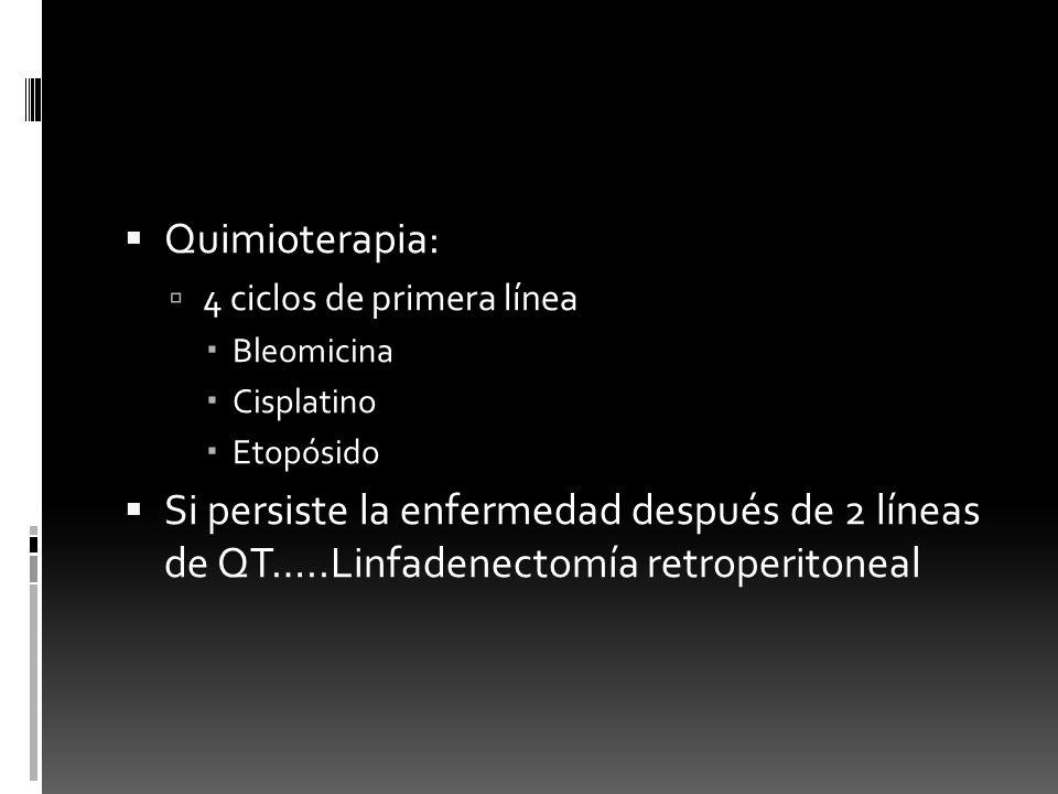 Quimioterapia: 4 ciclos de primera línea. Bleomicina. Cisplatino. Etopósido.