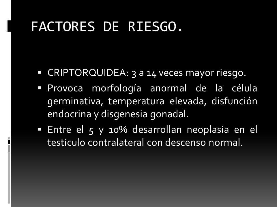 FACTORES DE RIESGO. CRIPTORQUIDEA: 3 a 14 veces mayor riesgo.