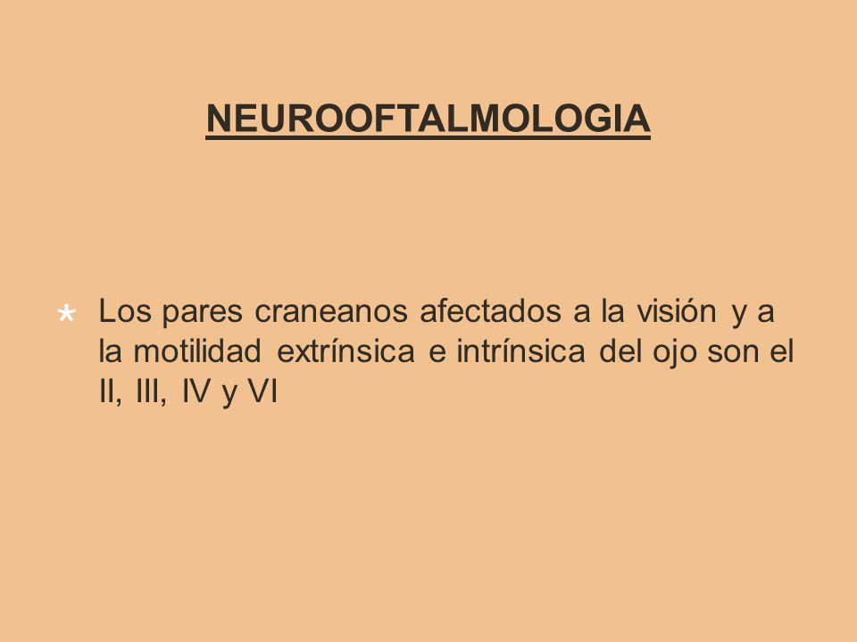 NEUROOFTALMOLOGIA Los pares craneanos afectados a la visión y a la motilidad extrínsica e intrínsica del ojo son el II, III, IV y VI.