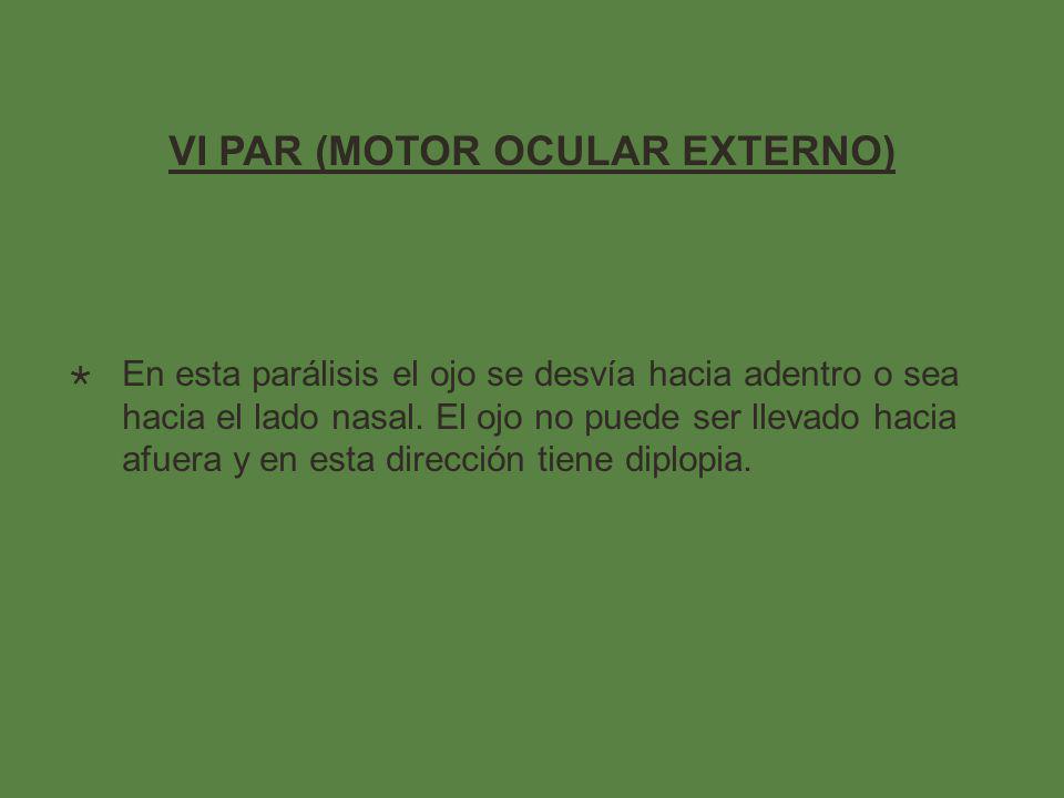 VI PAR (MOTOR OCULAR EXTERNO)